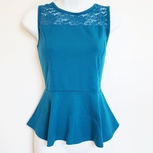 Ambiance Apparel peplum top lace sleeveless large